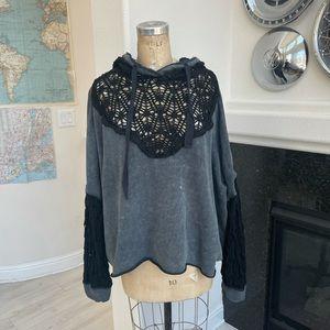 Free people hoodie crochet grey black medium
